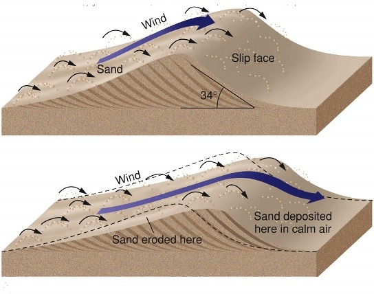 Landforms of Wind Deposition Barchan dune formation